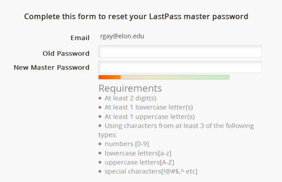 Image of the from to reset master password