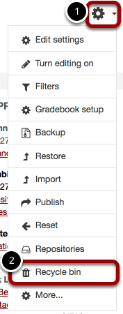 An image of settings, with the gear icon circled and labeled 1 and the recycle bin circled and labeled 2.