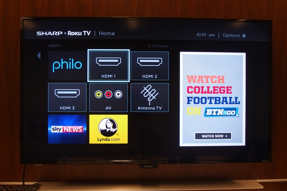 A picture of the Sharp Roku TV on the home screen with the HDMI icon highlighted.