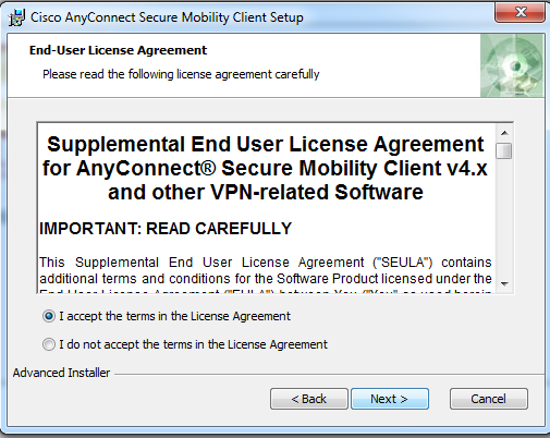 This is an image of the AnyConnect user agreement