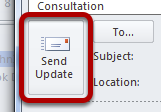 An image of the send update button, circled.