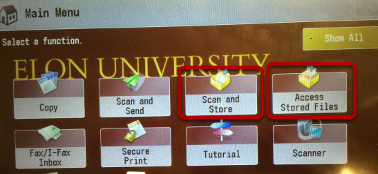 An image of the Scan & Store and Access Stored Files options circled.