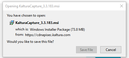 An image of the Kaltura Capture install file.