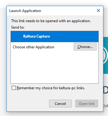 The launch application dialogue prompt.