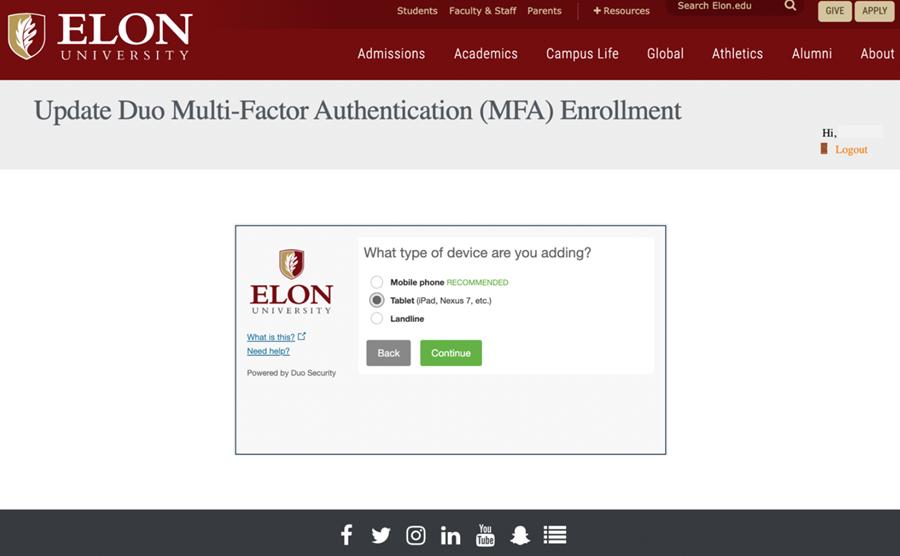 Screenshot from Elon's DUO Self-Service Enrollment Website
