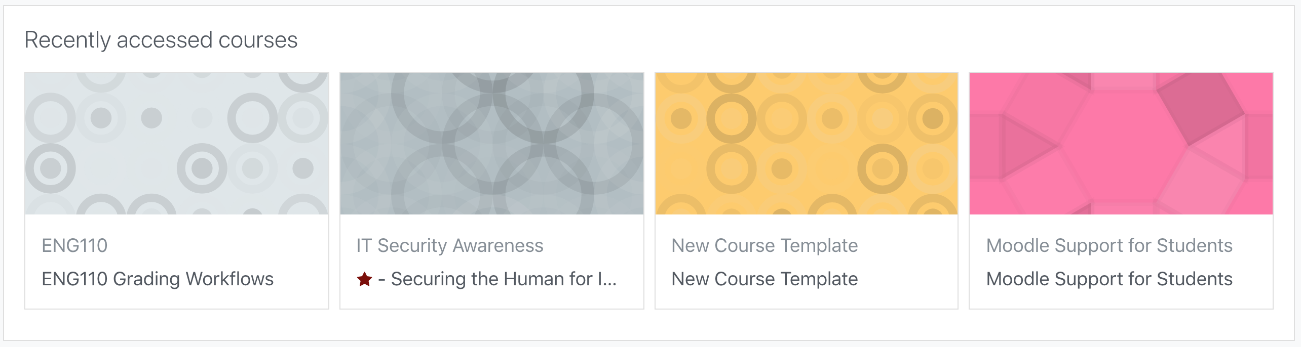 An image of recently accessed courses.