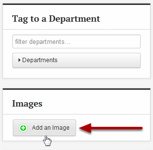 An image of the images section with an arrow pointing to Add an image.