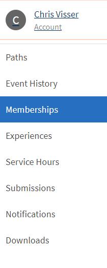 Image of Account menu.