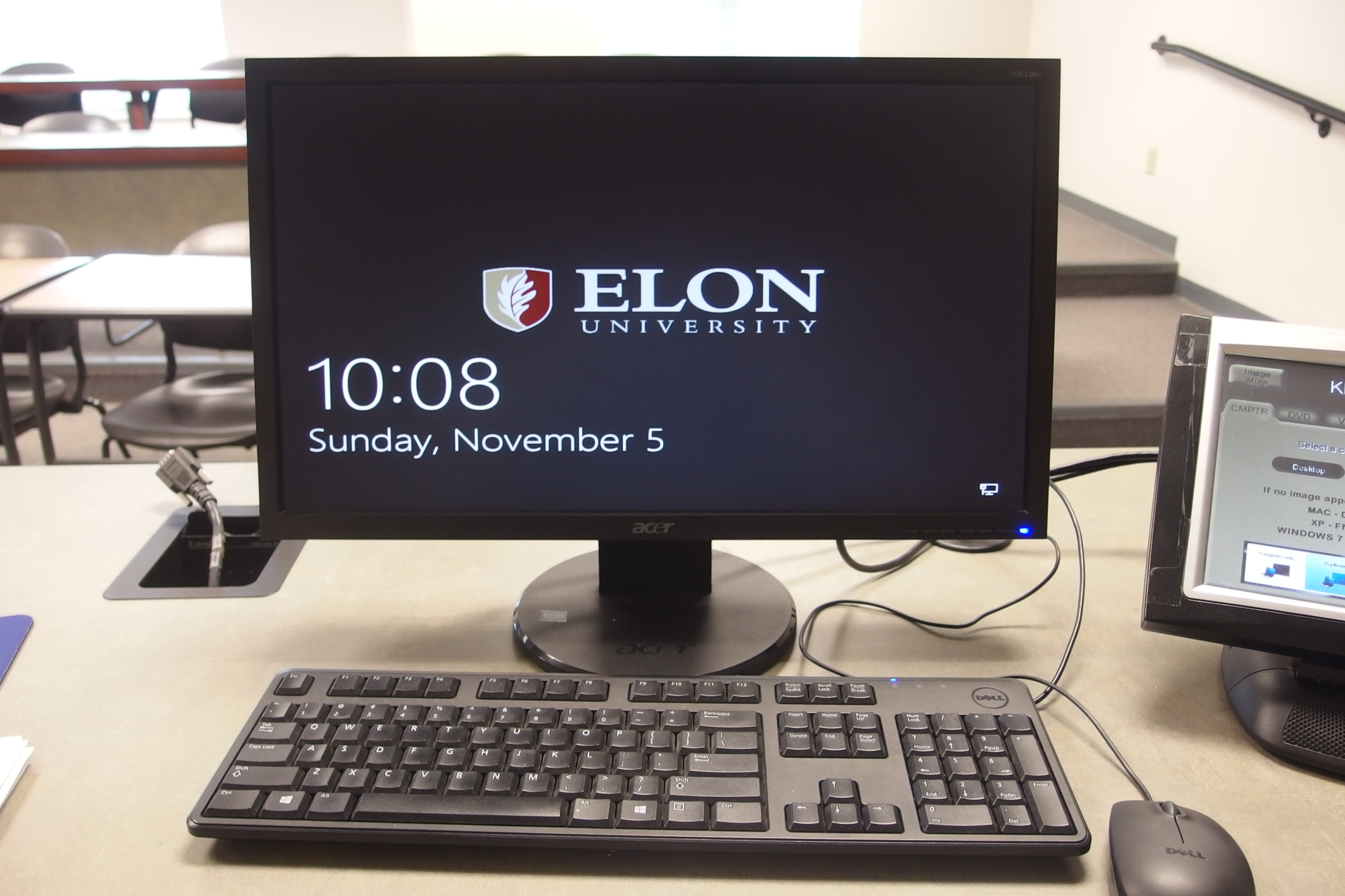 Photo of the dell desktop computer installed at the instructor's station