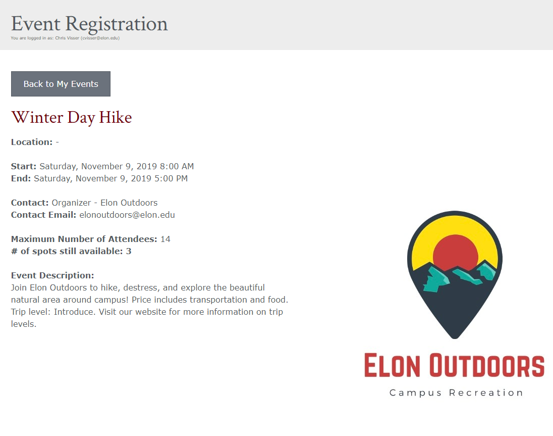 Image of event sign up page 1 of 2