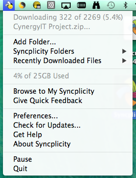 This image shows an alternate view for accessing your Syncplicity folder.