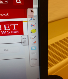 Photo of right side of the monitor screen showing the SMART tools to operate the SMART board