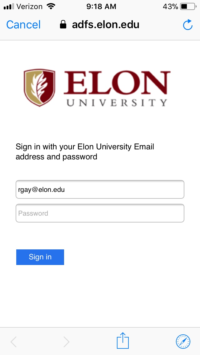 An image of the Elon sign in page.