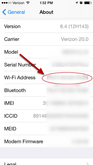 An image of an iOS device wireless settings, with an arrow pointing to the circled WiFi address.