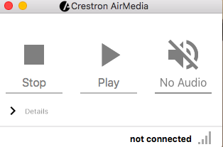 Photo of the stop, play, and no audio options on the AirMedia splash screen