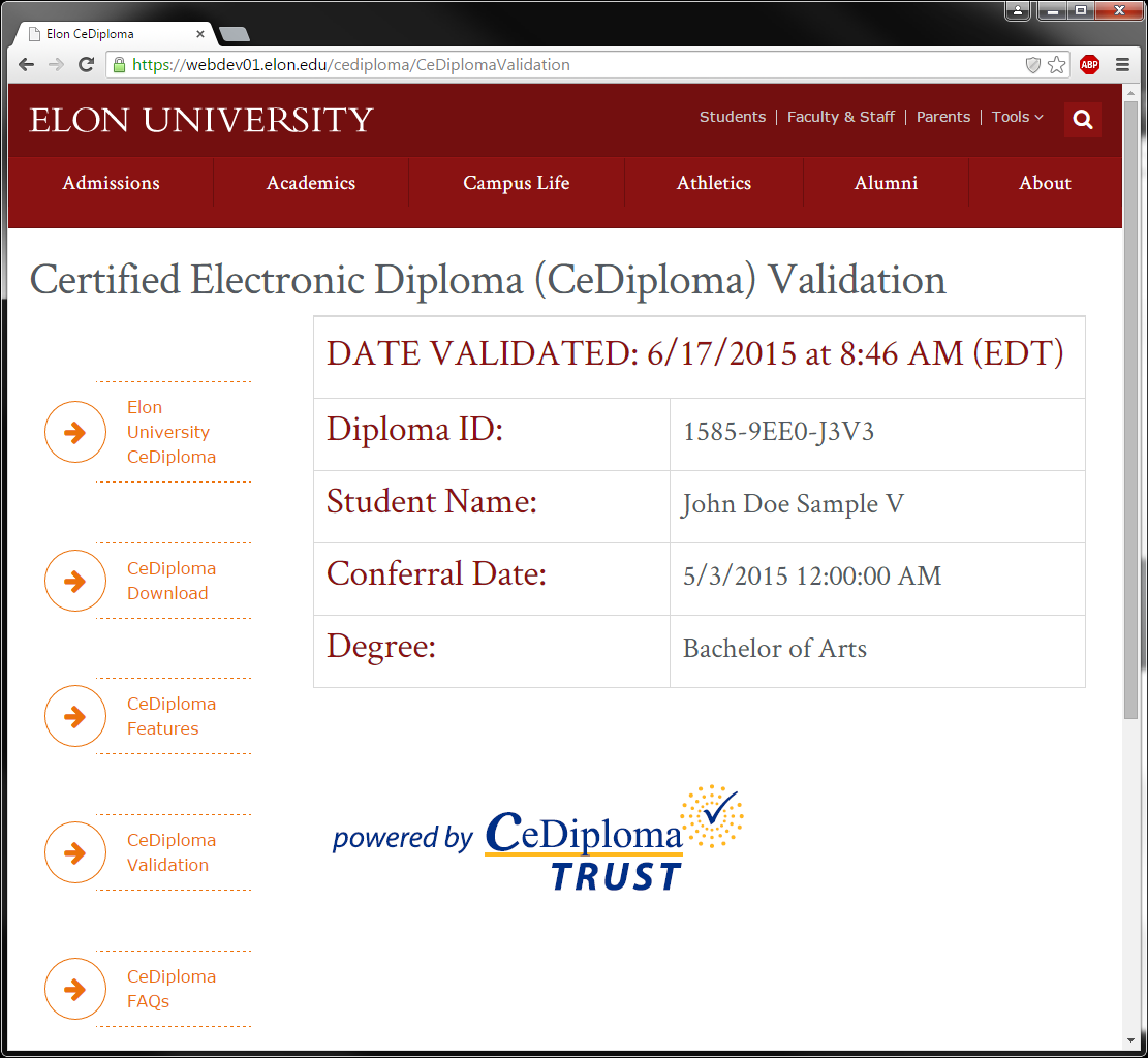 An image of a successfully validated CeDiploma.