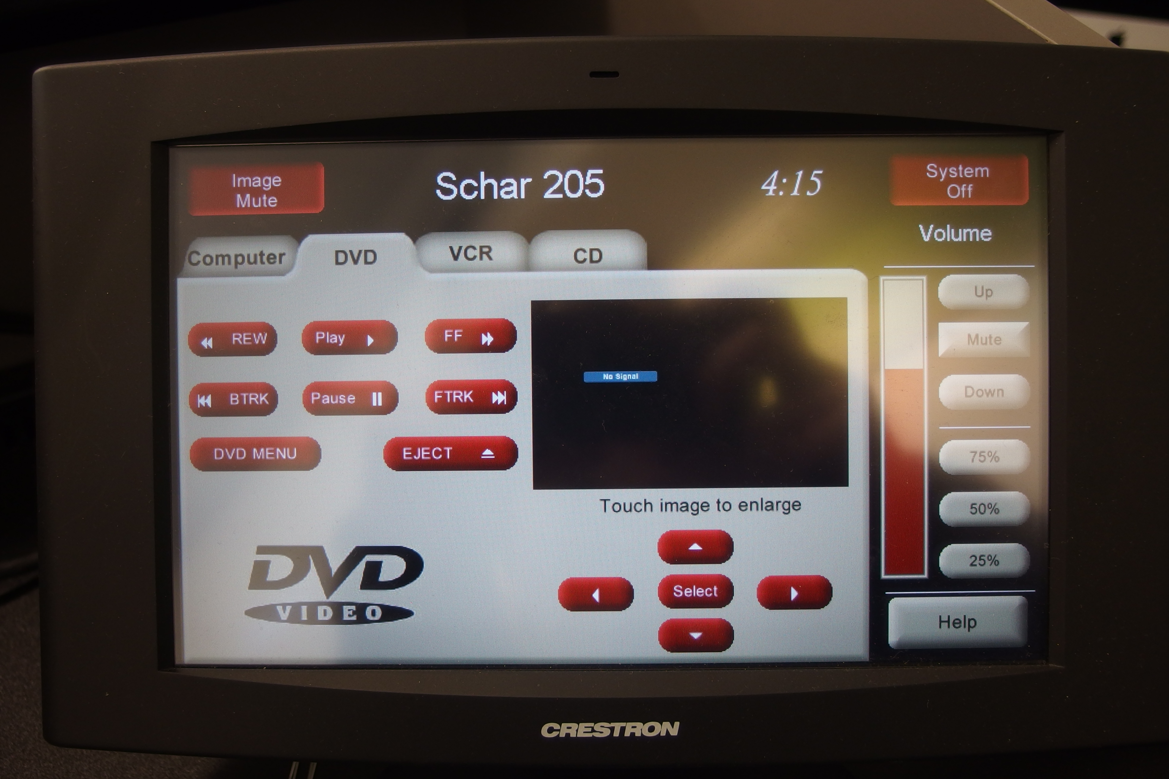 A photo of the touch panel with the DVD instructions.