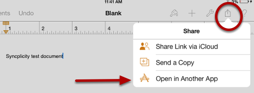 "This image shows the share icon (circled) and that you should select ""Open in Another App"" (arrow pointing)."