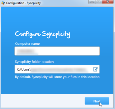 This is a picture of the configuration screen confirming your computer name and syncplicity file folder location.