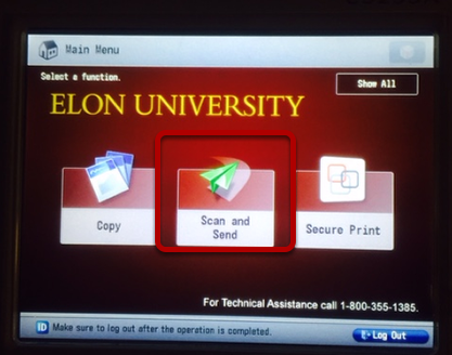 An image of the Canon home screen.