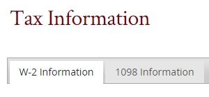 An Image of the Tax Information screen.