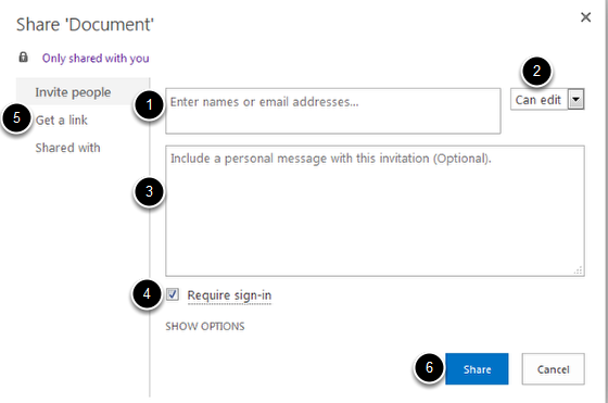 An image highlighting share options: 1 is where you enter email addresses; 2 is where you assign permissions; 3 is where you include a personal message; 4 is a checkbox where you can require sign-in; 5 is to get a link to share; and 6 is the button to click to actually share the document.