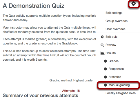 Image of an example quiz, with the settings gear and manual grading both circled.