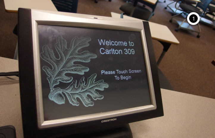 Photo of crestron control touch panel home screen