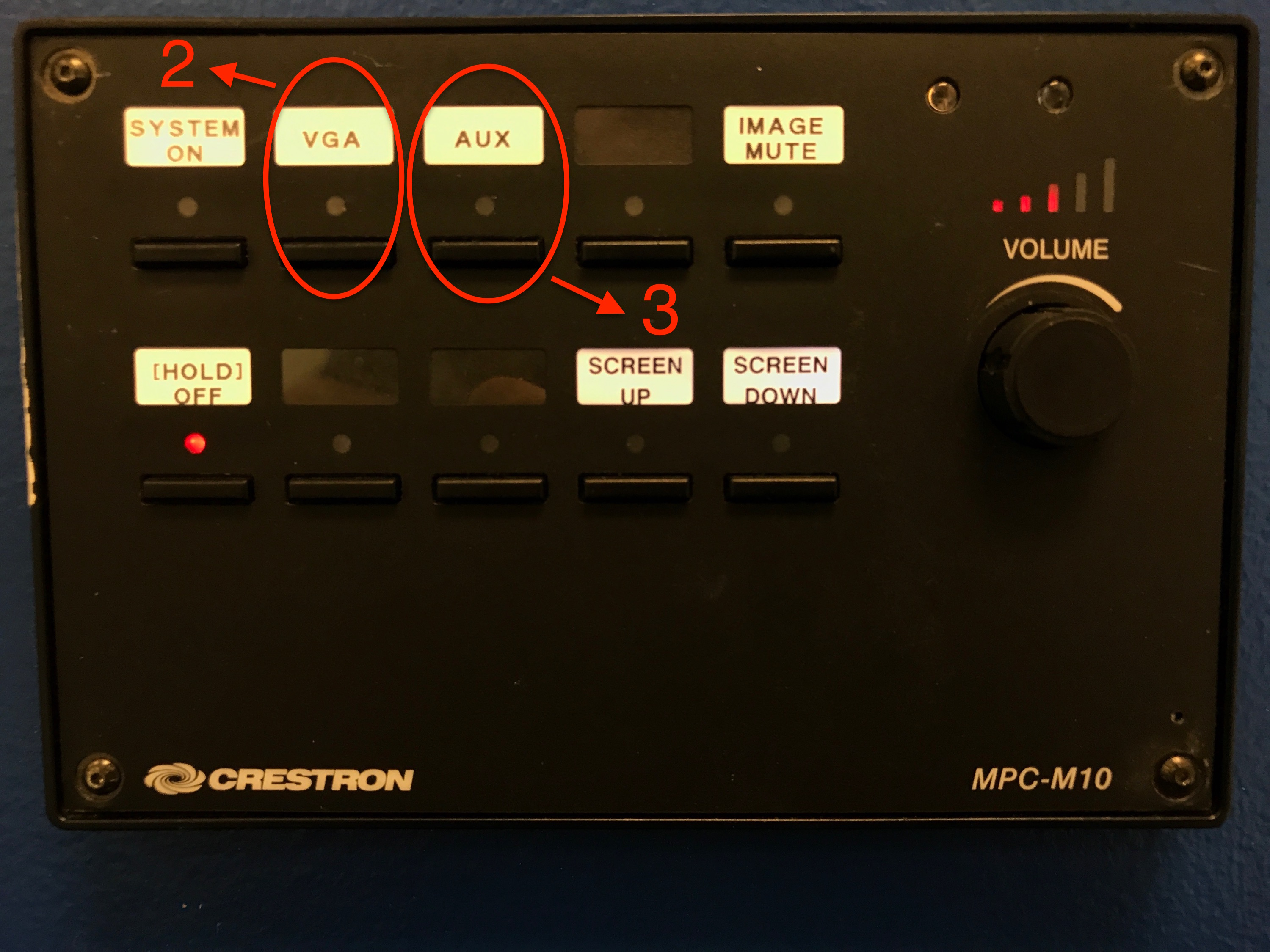 A photo that shows the VGA or AUX input on the control panel.
