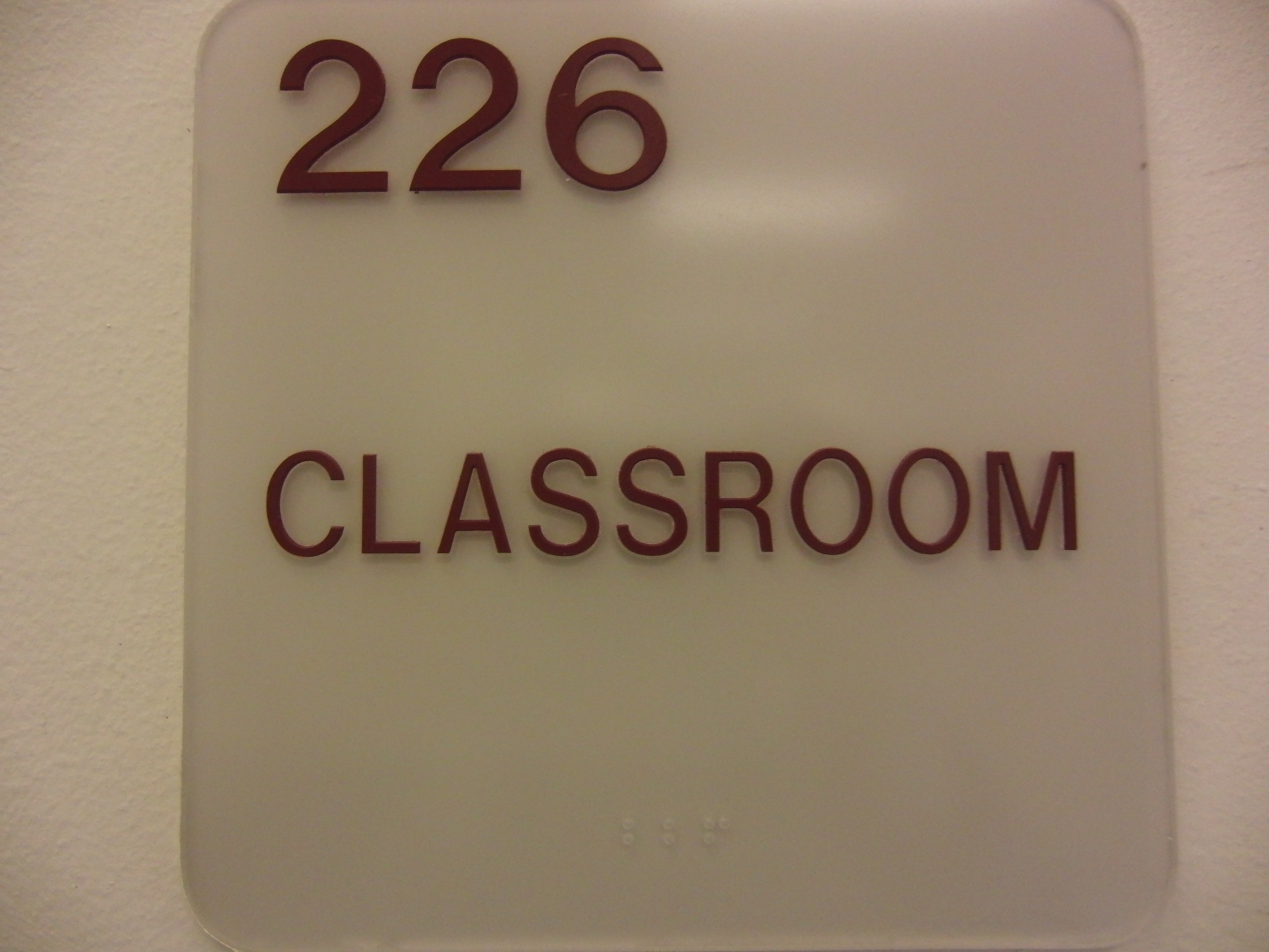 Photo of the McMichael 226 room number