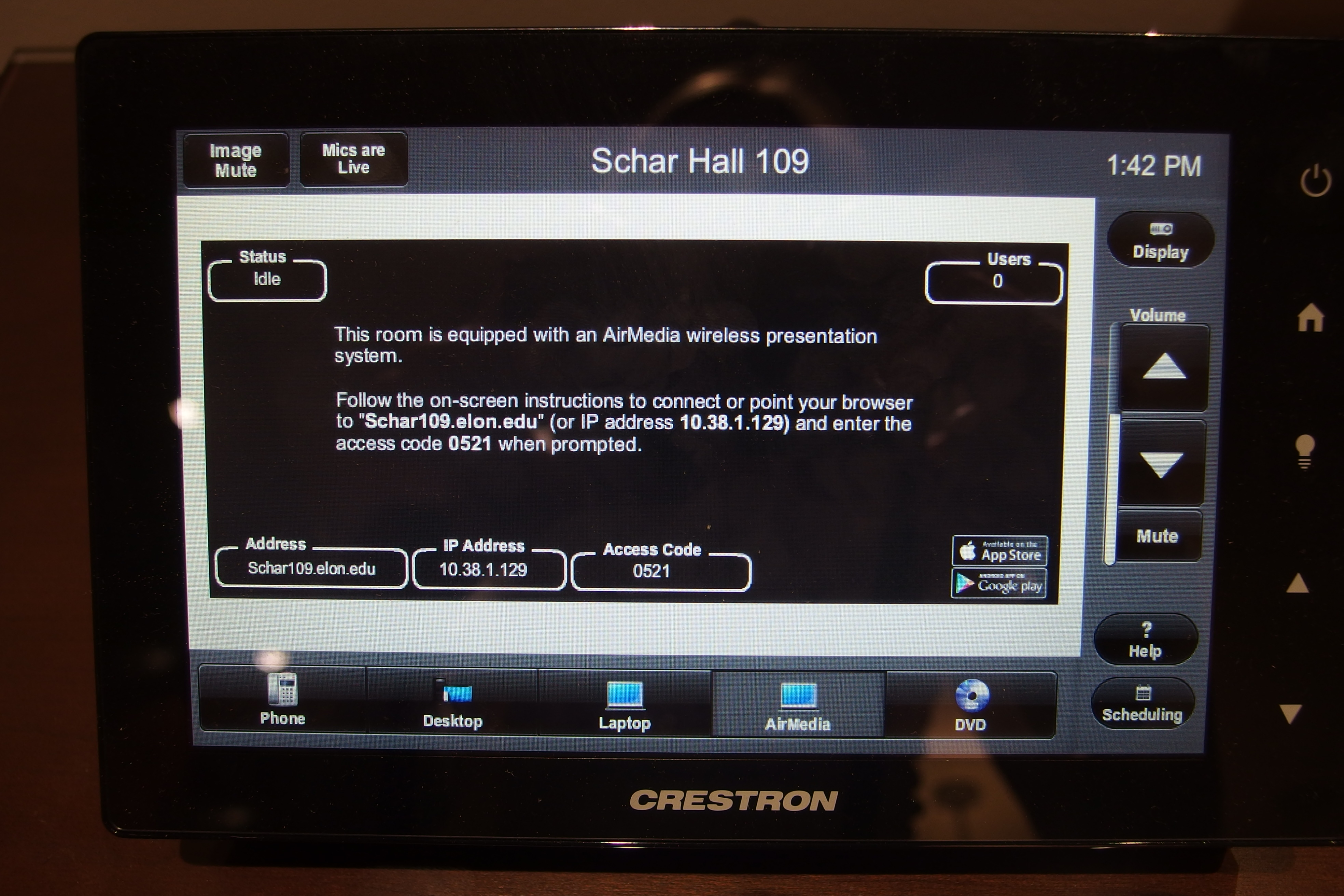A photo of the touch panel showing the Air Media page.