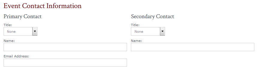 Image of Event Contact Information form