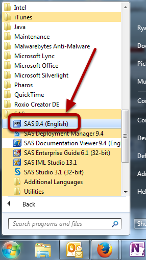 This is an image of an installed SAS program on a Windows device from the start menu.