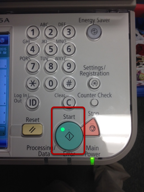 An image of the keypad on the device, with the start button circled.