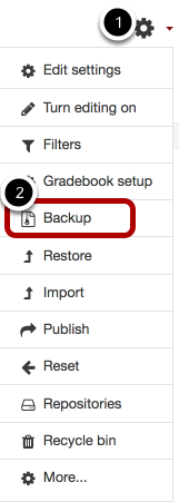 Image of selecting Backup under gear icon, with 1 the icon and 2, circled, as backup.