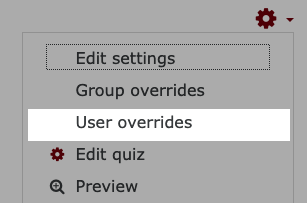 Select user overrides from the gear icon drop down menu.