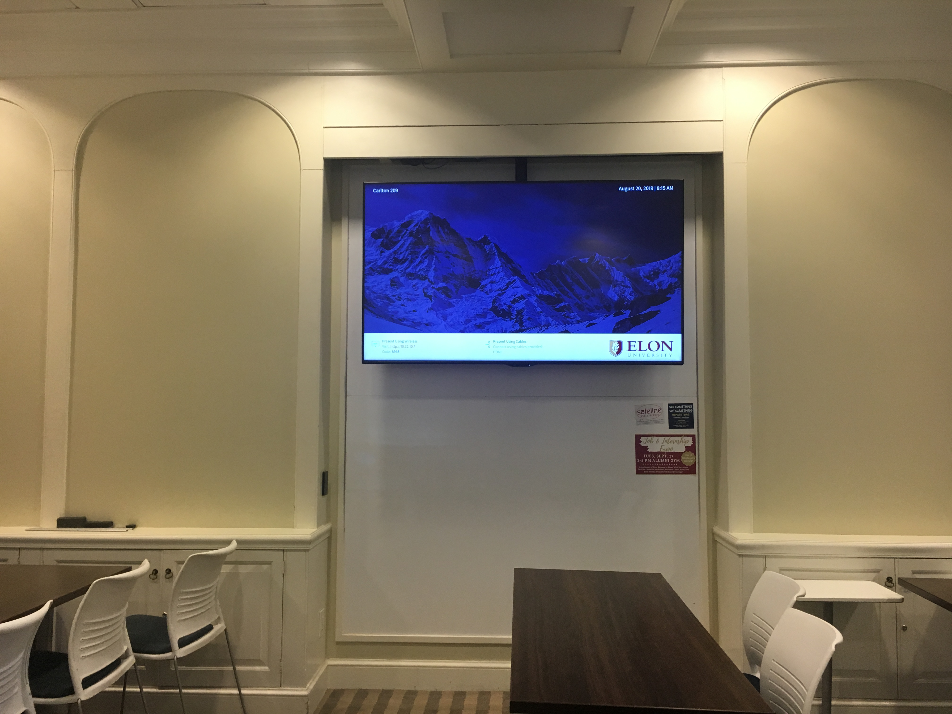 Picture of Sharp TV located on side wall of Carlton 209.