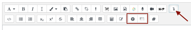Accessibility features in the Atto toolbar including the accessibility checker and the screen reader helper.