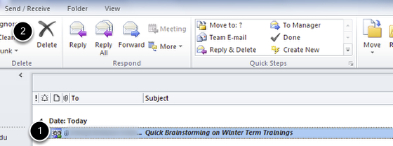 An image of the outlook item labeled 1 and the delete button labeled 2.