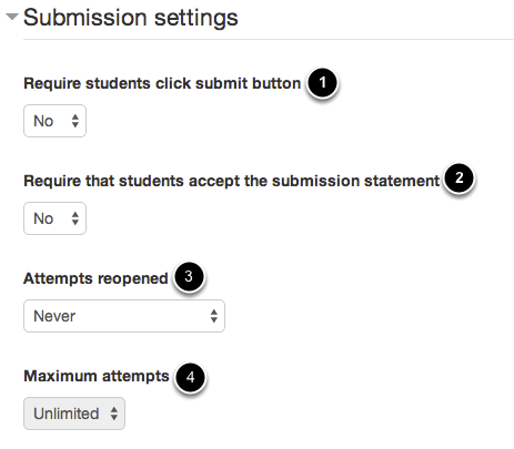 An image of submission settings, with 1 as requiring students to click submit; 2 as requiring students to accept a submission statement; 3 as attempts reopened; and 4 as maximum attempts.