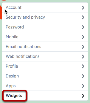 An image of the location of widgets option, which is circled.