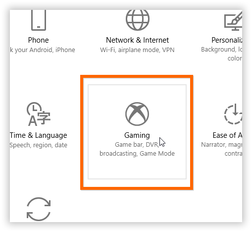 An image of the Gaming settings, which has been circled.