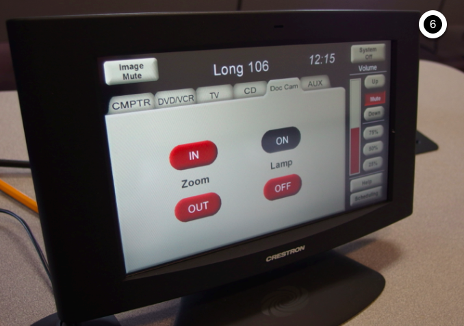 Photo of crestron control touch panel with the document camera tab active