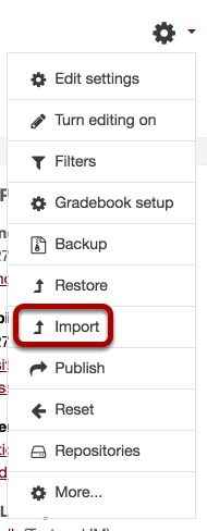 The settings expanded, with Import circled.