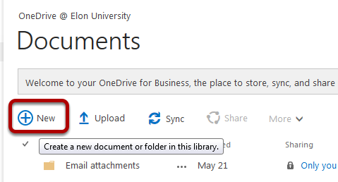 An image of how to create a new document in Onedrive, with the new button circled.