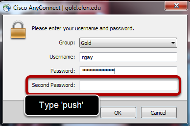 If using the DUO app, this image says to type 'push' in the second password field