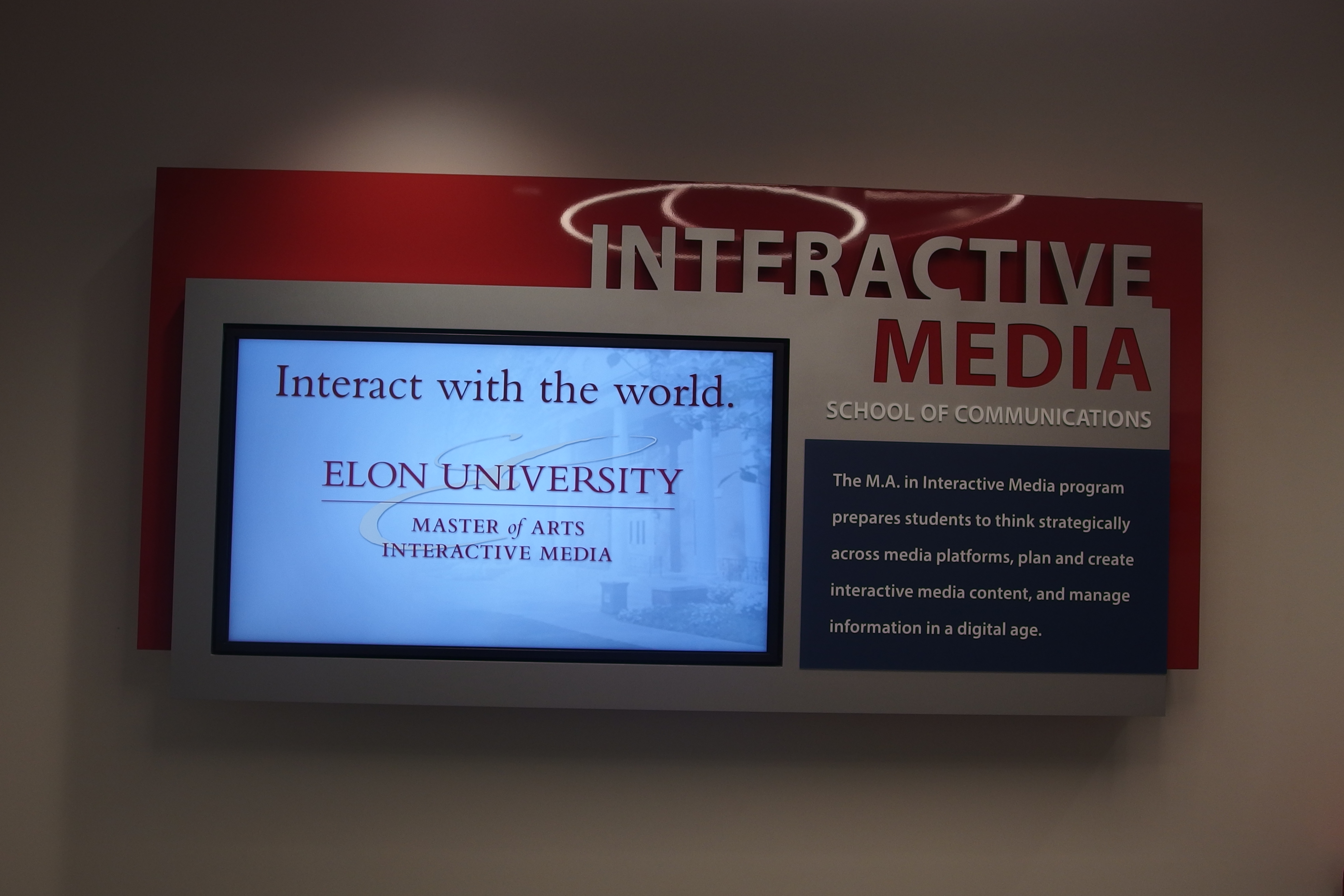 Photo of the Interactive Media School of Communications screen