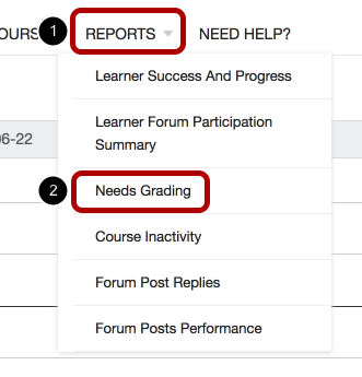 An image of the reports link, circled and labeled 1, and the needs grading link, circled and labeled 2.