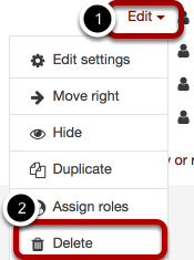 An image of the news forum options, with Edit circled and labeled 1 and assign roles circled and labeled 2.