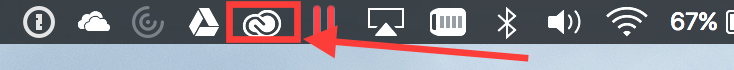 An image with an arrow pointing to the circled Creative Cloud icon.